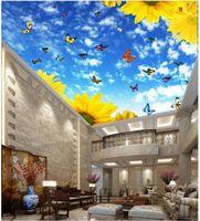 Sfondi Carta da parati a soffitto personalizzato per pareti per pareti 3 d murale moda Bellissimo cielo blu e nuvole bianche decorazione della farfalla