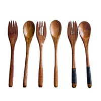 500sets lot 18*3cm Wooden Spoon +Wood Fork Kitchen Cooking Utensil Ice Cream Coffee Tea Soup Spoon Creative Dinner Tableware