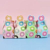 8 adet Çörek Parti Kağıt Şeker Kutusu Çanta Bebek Duş Çerezler Için Hediye Kutuları Çörek Tema Mutlu Doğum Günü Partisi Süslemeleri Çocuklar Iyilik