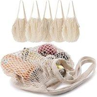 Réutilisable produit sac shopping grocery sacs coton maille marché corder filet shopping manuelles mains fruits légumes suspendus sacs