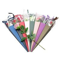 Gift Wrap Paper Box With PVC Window Wedding Party Single Fresh Rose Packaging Triangular For Valentine's Day Mother's Gifts