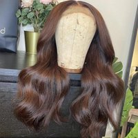 Lace Wigs 13*6 Transparent Frontal Wig Dark Brown Human Hair Peruvian Body Wave Colored 4X4 Closure For Black Women