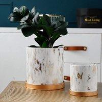 Waco Nevelty Ceramics Flowerpots, 둥근 모양의 꽃 냄비, 책상에 정원 냄비, 드레인 구멍 및 트레이가있는 가정 장식 (2 개 세트)