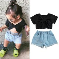 Kids Clothing Sets Girls Outfits Baby Clothes Children Suit Summer Bow Short-Sleeved T-shirts Hole Denim Shorts 2Pcs B7500