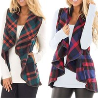 Ladies Spring Summer Vest Jacket Women and Girls Plaid Lapel Sleeveless Cardigan Tops Female Loose Cloak Woollen Coat Waistcoat S-XXL new
