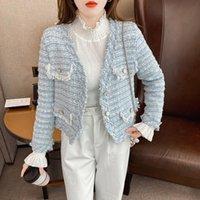 Women's Wool & Blends Woolen Coat Female 2021 Spring And Autumn Korean Version V-neck Tweed Pearl Buckle Tassel Long Sleeve