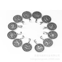 Pendant Necklaces Twelve Horoscope Coin Women Stainless Steel Necklace Leo Virgo Libra Scorpio Sagittarius Capricorn 12 Constellation Gift