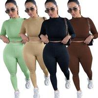 Kadın Eşofmanlar Seksi Uzun Kollu Kıyafetler Bayanlar İki Parçalı Suits Spor Yoga Setleri Sonbahar Mahsul Tops Pantolon Set