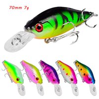 10 Color Mixed 70mm 7g Crank Fishing Hooks 6# Treble Hook Hard Baits & Lures Pesca Tackle Accessories WA_604
