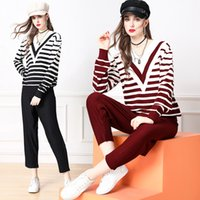 Knitted Two Piece Pants Runway Sets Long Sleeve 2021 Casual Pullovers + Trousers Autumn Winter Women Designer Jacquard Suits Holiday Cafe Office Party Sweaters Set