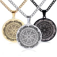 Pendant Necklaces Stainless Steel Mens Necklace Vintage Pirate Viking Odin Logo Rune Magic Circle Round Titanium