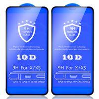 10D temperado protetor de tela de vidro 9h à prova de cobertura de cobertura de cola completa Cobertura de proteção curvada para iphone 13 pro max 12 mini 11 xr x 8 7 6 6 s mais