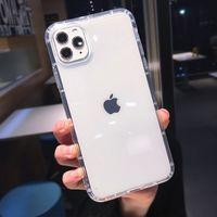 Caja de silicona a prueba de golpes transparentes de lujo para iPhone 11 x XR XS MAX CASE 12 11 PRO MAX 8 7 6S PLUS SE ES CASO DE SILICONA DE SILICONA