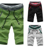 Talla grande Moda Hombres Verano Playa Pantalones cortos de color Bloque de color Dibujos de cordones Hombres cortos Pantalones masculinos L0221