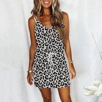 Casual Dresses Leopard Print Drawstring Mini Dress Sexy V Neck Sleeveless Open Back Women Plus Size Loose Strap Vestidos 40#