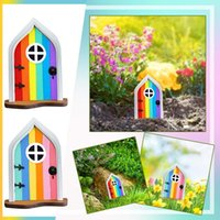 Decorative Objects & Figurines Wooden Fairy Gnome Window Door Miniature Home And For Trees Yard Art Garden Sculpture Decor Outdoor Statues