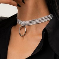 Chokers Crystal Choker Ожерелье для женщин Теннисная цепь шеи Круг Подвески Геометрические горный хрусталь Ожерелья партии Свадьба Ювелирные Изделия 2021
