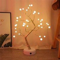 Night Lights LED Tabletop Bonsai Tree Light USB Mini Christmas Garland Fairy Lamp Bedroom Xmas Decoration Holiday Lighting