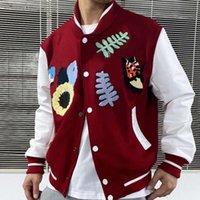 패션 대리학 동물 편지 수건 자수 재킷 크로 셰 뜨개질 꽃 야구 재킷 높은 거리 커플 여성 망 코트 hfxhjk105