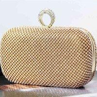 Cross border diamond inlaid Dinner Bag creative ring hand holding evening pure handmade banquet factory direct sales