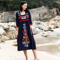 Günlük Elbiseler Vintage Moda Kadın Bohemian Tatil Çiçek Nakış Gevşek Midi Elbise Keten Pamuk Kısa Kollu Boho Hippi Vestidos