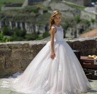 2021 Spitzenbogen Girls Pageant Kleider Erste Kommunion Kleider Schöne Whiteivor Ballkleid Blumenmädchenkleider für Hochzeiten