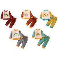 Bebê roupas arco-íris bordado multi-cor Splicing contraste cor manga longa moletom + calças 2pcs / set fashiob kids suitszy730
