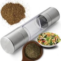 طاحونة الفلفل 2 في 1 الفولاذ المقاوم للصدأ دليل الملح الفلفل مطحنة مطحنة التوابل أدوات المطبخ الملحقات للطبخ WWA131