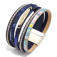 Tennis 2021 Fashion Bohemian Multilayer Leather Bracelet Wristband Female Wide Magnetic Clasps Wrap Bracelets & Bangles For Women