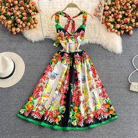 Beiläufige Kleider Banulin Halfter Backless Frauen Sexy V-Ausschnitt Strand Kleid 2021 Sommer Runway Blumendruck Hohe elastische Taille Party Vestidos N7398