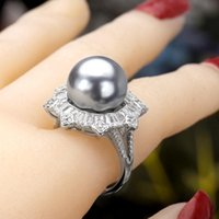 Wedding Rings Trendy Round Pearl Statement For Women Cubic Zircon Finger Beads Charm Ring Bohemian Beach Jewelry Gifts