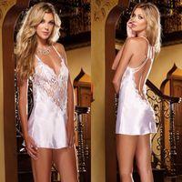Women's Sleepwear Women Sexy Lingerie Underwear Deep V Lotion Hang Neck Nightgowns Erotic Sleevless Lace Home Dress Nightwear