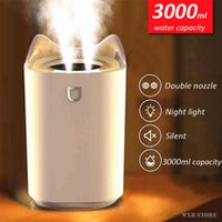 Essential oils diffusers 3000Ml Home humidifier Double Nozzle Cool Mist Aroma Diffuser Met Coloful Led Light Heavy Ultrasone Usb Humidifier J0723