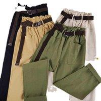 Women's Pants & Capris Trousers Korean Belt Casual Joggers Sweatpants High Waist Harajuku Streetwear Cargo Women Loose Female
