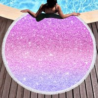 Towel Beddingoutlet Shining Stars Large Round Beach For Adults Woman Microfiber Pink And Violet Sunblock Blanket Yoga Mat 150cm
