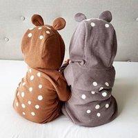 boy cartoon sika deer robe with zipper newborn crawler girl jumpsuit Baby clothes 210309