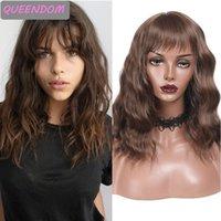 Synthetic Wigs 14''brown Water Wave Bob Wig With Bangs Purple Blue Wavy Shoulder Length Heat Resistant Lolita Peruca Cosplay