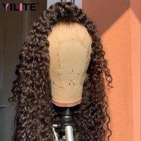 Кружевные парики длинные 30-дюймовые бразильские kinky вьющиеся для женщин человеческие волосы афро швейцарский закрытие прозрачный 13x4 фронт
