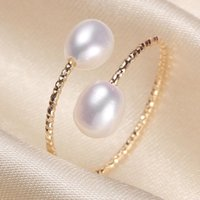 Cluster Rings SALE TWO PEARLS FREE SIZE ADJUSTABLE Freshwater Pearl Ring Finger Jewelry Nice Party Wedding Gift Present
