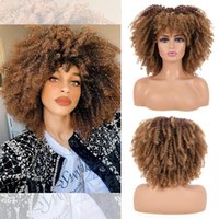 Synthetic Wigs Leeons Afro Kinky Curly Wig Blonde Natural Brown Short Hair With Bangs Cosplay African