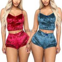 Women Pajamas Sets Sexy Velvet Two Piece Suits Ladies 2PCS Sleepwear Female Vest Shorts Set Summer Womens Nightwear