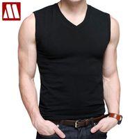 Mens Algodão t - shirts V-Pescoço de manga curta Moda de verão masculino tanque de músculo camisas topo tees estilo europeu slim fit 210315