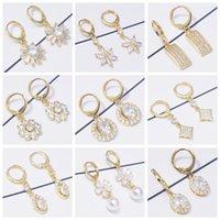 Hoop & Huggie 10 Pairs lot Vintage Earings Set Wholesale Gold Earring Kit White Zircon Blue Crystal Earrings For Women Fashion Jewelry