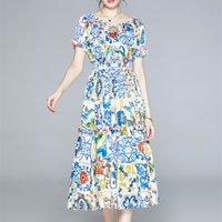 Bohemian yaz mavi ve beyaz baskı çiçek midi elbise kadın kapalı omuz kısa kollu elastik bel pist elbise