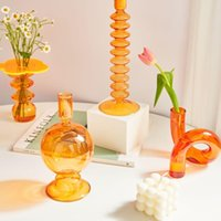 Candle Holders Glass Vases Home Decoration Clear Flower Vase Wedding Centerpieces Table Candlestick Holder