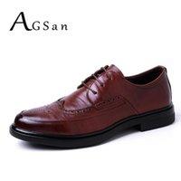 Zapatos de vestir Agsan Cuero genuino Casual Hombres Brogue Lace Up Oficina de negocios Calzado Hombres Boda