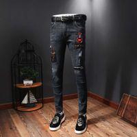 2019 Новые джинсы высокого качества мужские узкие джинсы роскошные люди дизайнер Pantalon de дизайнер залить Hommes Men S одежда джинсы G112