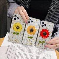 Luxo Bling Folha De Ouro Colorido Real Seco Flor Casos para iPhone 11 12 Pro Max XS XR SE 7 8Plus moda macia tampa