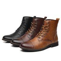 Sapatos de vestido Misalwa Botas de Cano Alto Masculinas, Couro Pu, Com Cordões, Estilo Militar, Pará Inverno e Primavera, Britânico J7AW