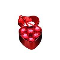 6 unids corazón perfumado baño cuerpo pétalo rosa flor jabón amor corazón caja de metal contenedor ducha rosa flor decoración regalo romántico # yl10